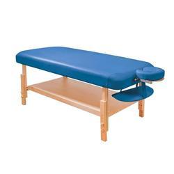Massageliege Naturholzgestell, blaue Polsterung